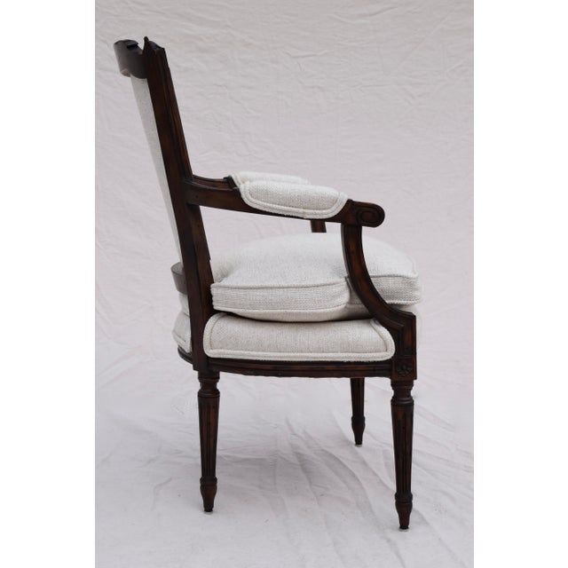 Louis XVI French Walnut Fauteuil Accent Chair For Sale - Image 4 of 13