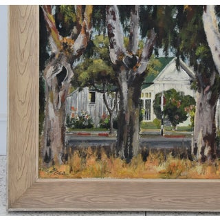 1950s Dorothy Neal, Cottage and Grove of Trees Landscape Oil Painting Preview