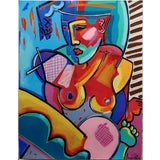 Image of 1990s Vintage Cubist Seated Nude Female Oil Painting Amanda Watts For Sale