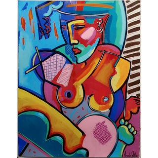 1990s Vintage Cubist Seated Nude Female Oil Painting Amanda Watts For Sale