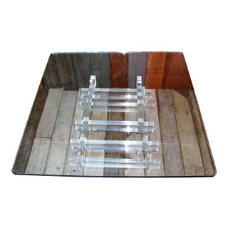 1970s Lucite & Glass Coffee Table For Sale