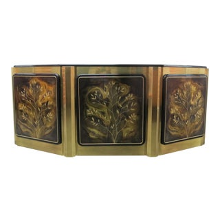 1970s Hollywood Regency Mastercraft Tree of Life Solid Brass and Black Lacquer Buffet For Sale