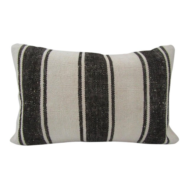 Vintage Handmade Black and White Striped Turkish Kilim Pillow Cover For Sale
