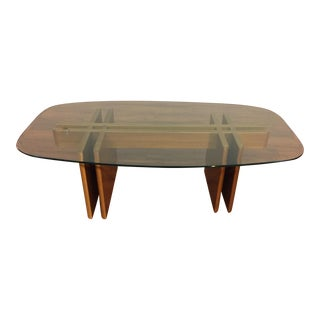 Teak and Beveled Glass Coffee Table by Gustav Gaarde - Made in Denmark For Sale