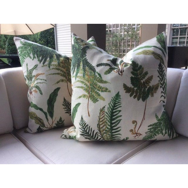 """Schumacher Hollywood Regency Schumacher """"Les Fougeres"""" in Document Pillows - a Pair For Sale - Image 4 of 4"""