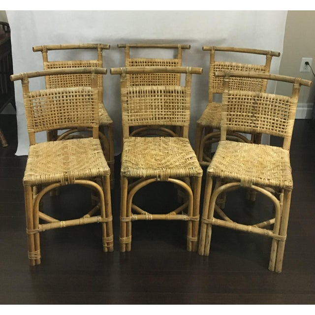 Vintage Bamboo and Rattan Chairs - Set of 6 - Image 2 of 10