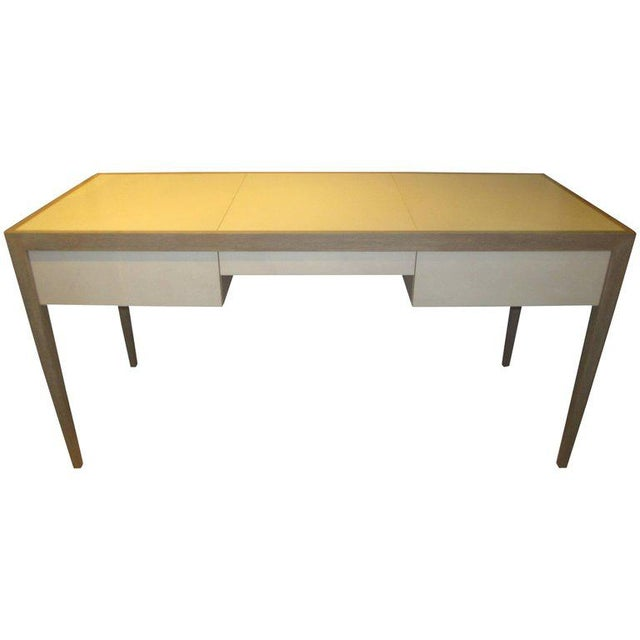 Custom Cerused Oak and Parchment Desk Featuring Three Central Drawers For Sale In New York - Image 6 of 6
