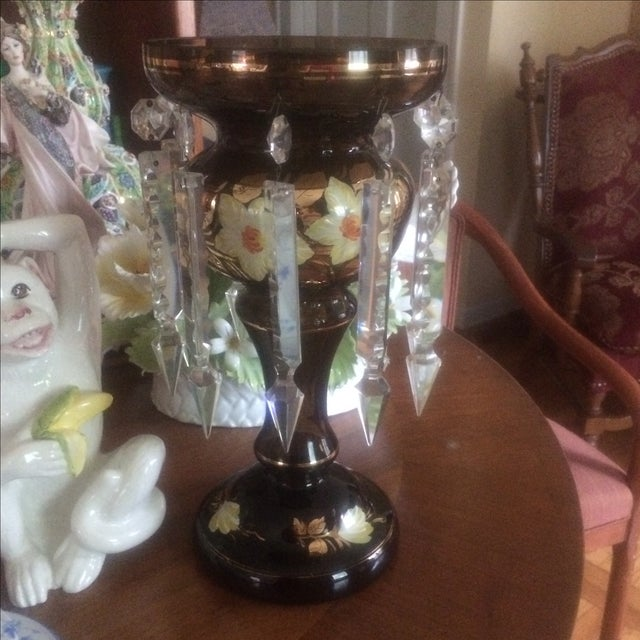 Antique Bohemian Glass Candelabra Mantel Lustres - Image 2 of 4
