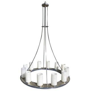 Large Modernist Twelve-Light Nickel Finished Chandelier For Sale
