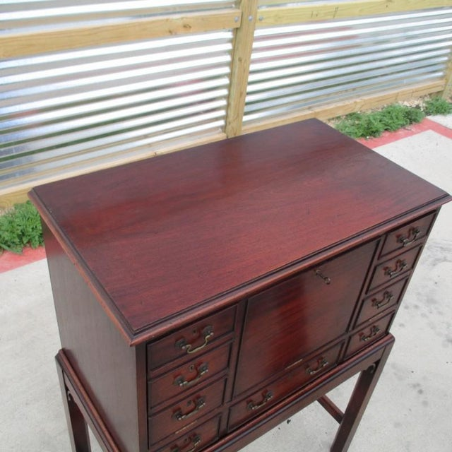 Metal English Antique Drop Front Writing Desk For Sale - Image 7 of 8