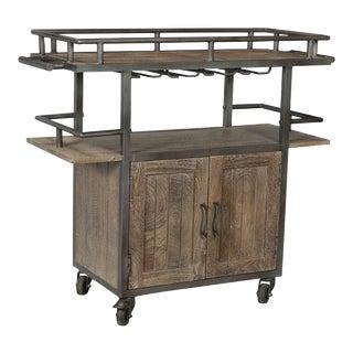 Industrial Farm Style Bar Cart For Sale