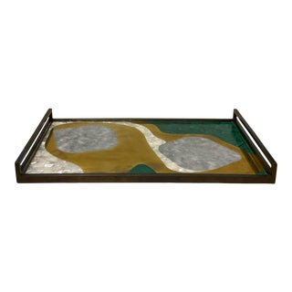 Brass Tray With Shell, Lapis, and Malachite Inlay For Sale