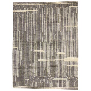 Contemporary Moroccan Style Grey Rug with Abstract Design