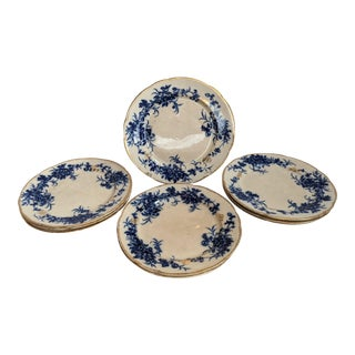 Antique Late 19th Century Smith & Ford Floral Flow Blue Plates - Set of 9 For Sale