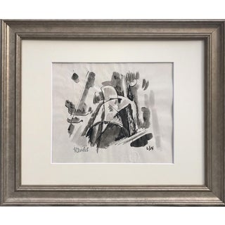 Vintage Abstract Expressionist Pen & Ink Painting by Harold Davies For Sale