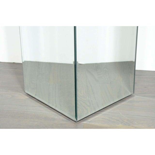 Modernist Hand Beveled Mirrored Pedestal For Sale - Image 4 of 7
