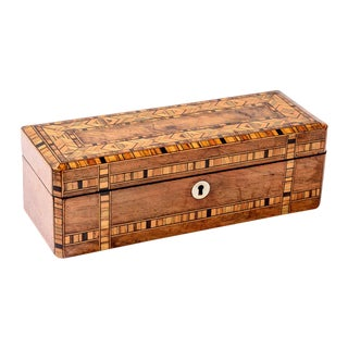 English Tumbridge Ware Antique Jewelry Box For Sale