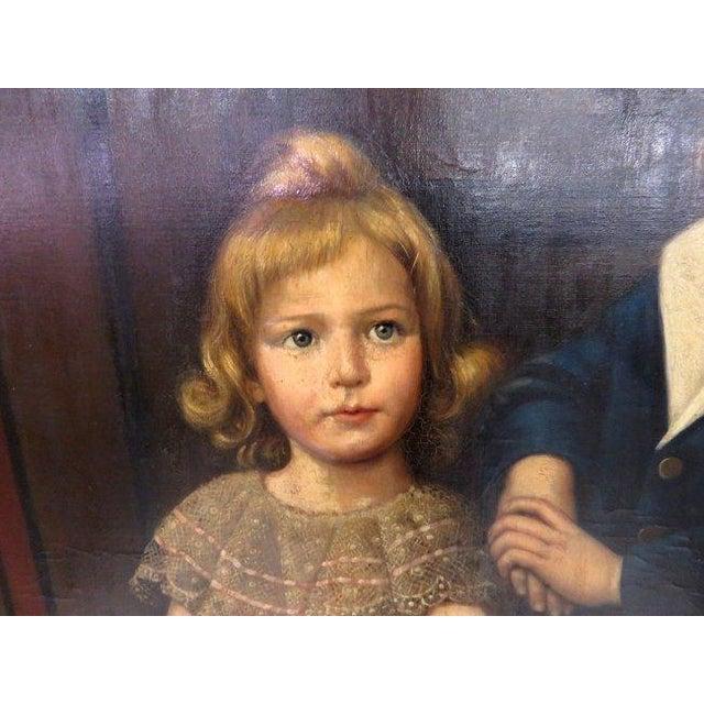 Portraiture Oil on Canvas Portrait of 2 Children For Sale - Image 3 of 8