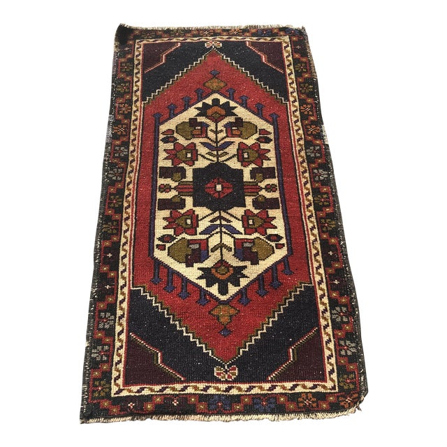 Vintage Handmade Anatolian Rug- 1′10″ × 3′6″ For Sale