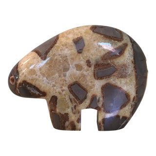 Modern Septarian Stone Polar Bear Sculpture For Sale