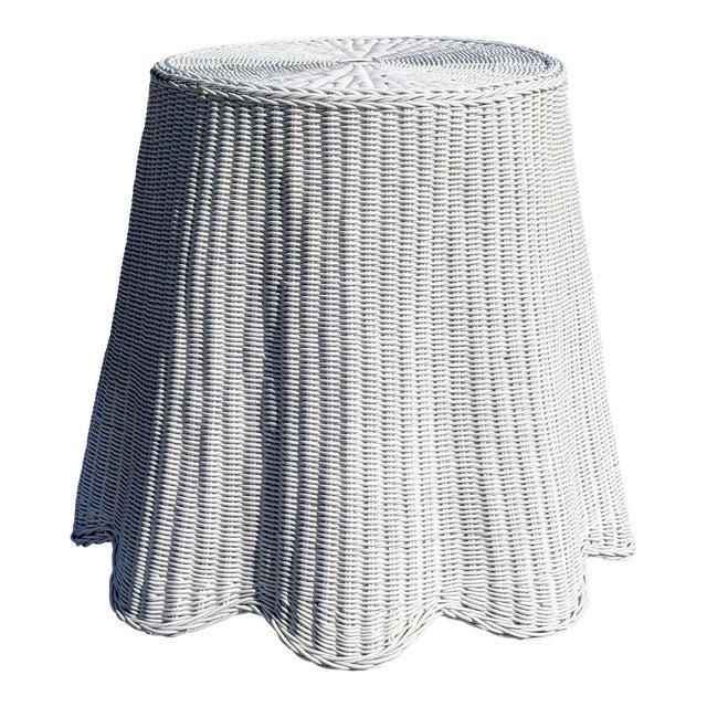 Trompe l'Oeil Draped White Wicker Rattan Ghost Table For Sale