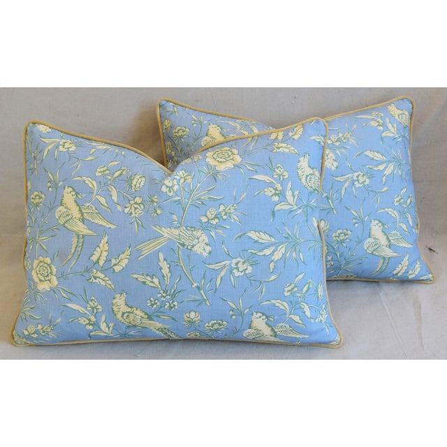 """Cotton Scalamandre Aviary Linen & Velvet Feather/Down Pillows 25"""" X 18"""" - Pair For Sale - Image 7 of 13"""
