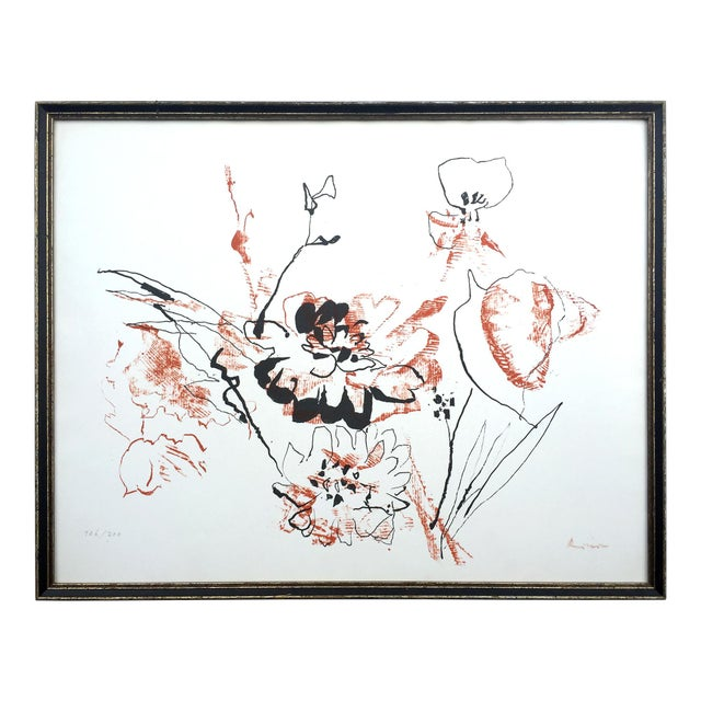 Circa 1970 Abstract Expressionist Floral Screenprint - Image 1 of 3