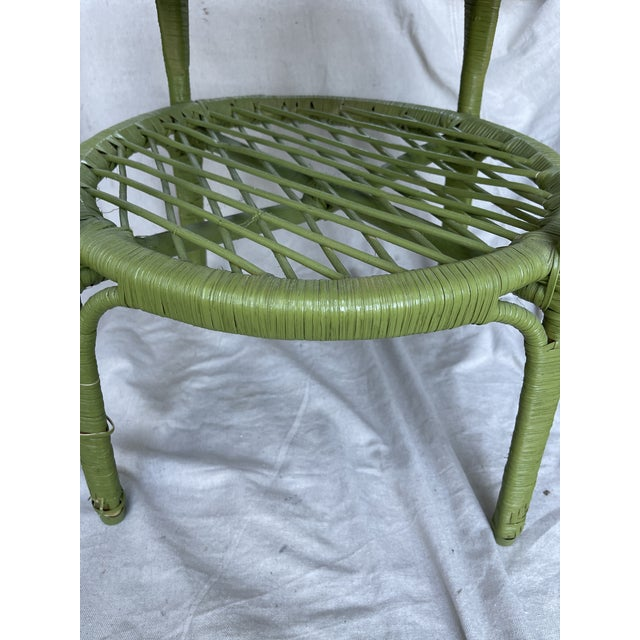 Vintage avocado green wicker side table with shelves, 20hx 20w x 20d x 12in H to shelve In a trendy Avocado green color....