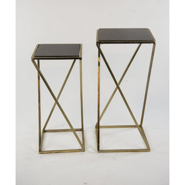 Modern Gold Steel & Black Granite Accent X Frame Tables - A Pair - Image 2 of 11