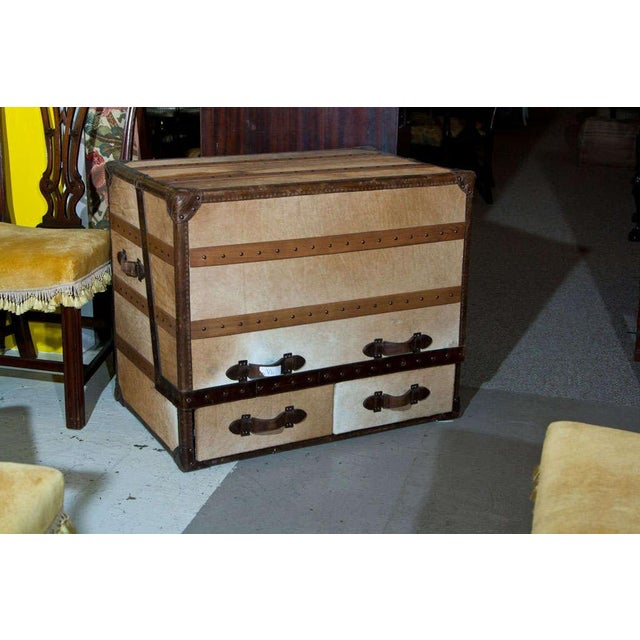 Brown Leather and Cowhide Trunk Desk For Sale - Image 8 of 9