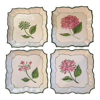 "Vietri Italian ""Disappearing Flower"" Plates - Set of 4"