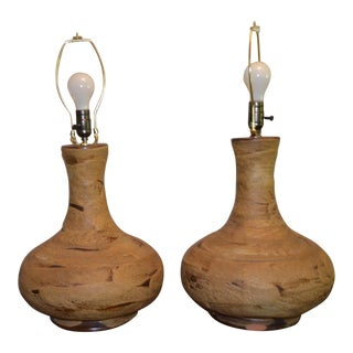 Pair Mid-Century Modern Brutalist Volcanic Lava Drip Glaze Pottery Table Lamps For Sale