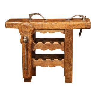19th Century Rustic French Carpenter Press Table With Wine Rack For Sale