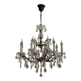 Vintage Rococo Crystal and Bronze 8 Armed Chandelier Dennis & Leen For Sale