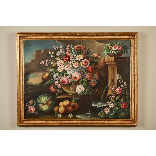Pair of 19th Century Italian School Still Life Large Oil-On-Canvas Painting within a Giltwood Frame For Sale - Image 4 of 10