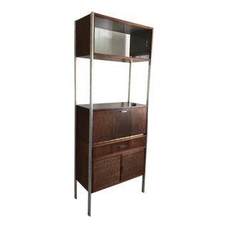 Mid-Century Modern Founders Walnut and Chrome Secretary For Sale