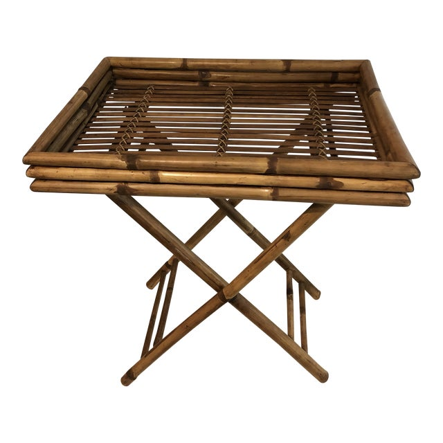 20th Century Boho Chic Bamboo Butler's Tray Table For Sale