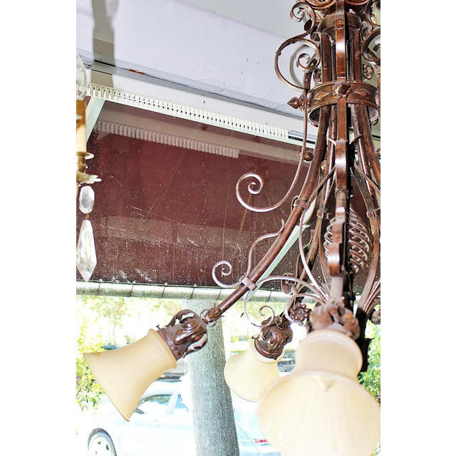 Orange French Country Wrought Steel Chandelier For Sale - Image 8 of 8