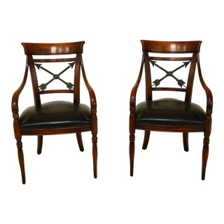 Pair Theodore Alexander Regency Style Mahogany Armchairs For Sale