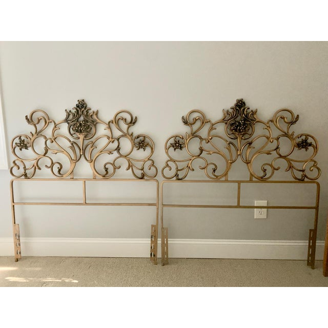 Vintage Gold Iron Twin Headboards With Floral Motif - a Pair For Sale - Image 11 of 11