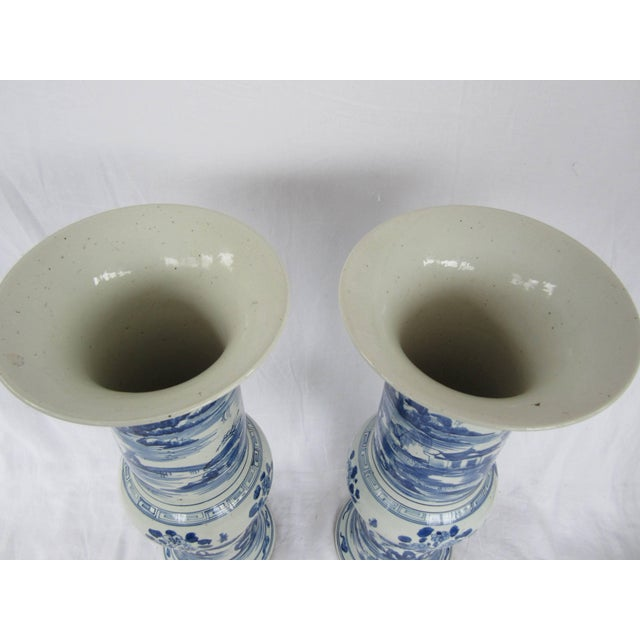 Pair of Large Blue and White Chinese Trumpet Vases For Sale In New York - Image 6 of 9