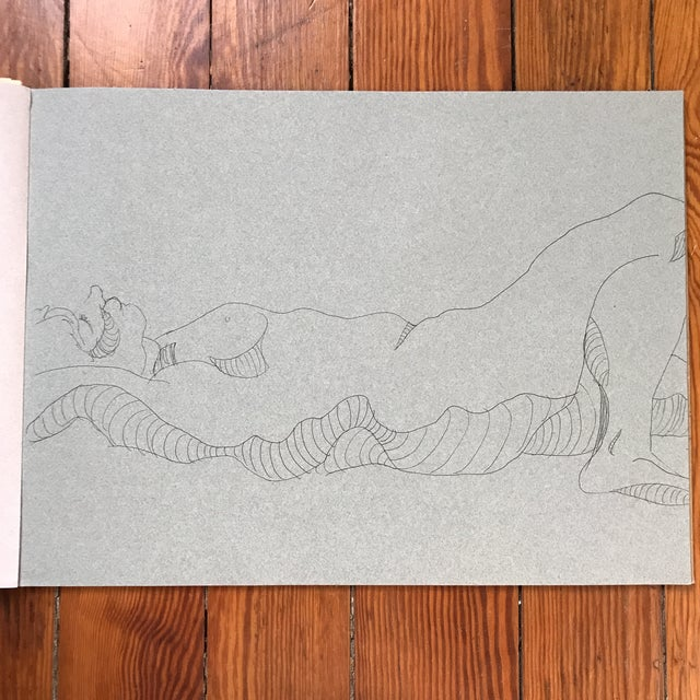 "Contour drawing of nude in repose by artist Alice Houston Miles, 2013. Pen on toned paper. Measures 12"" x 16"". Item comes..."