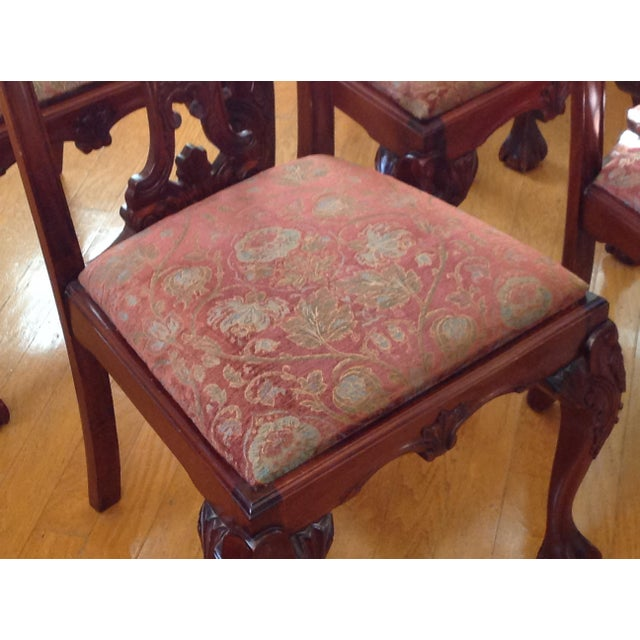 Brown Chippendale-Style Mahogany Dining Chairs - Set of 6 For Sale - Image 8 of 8