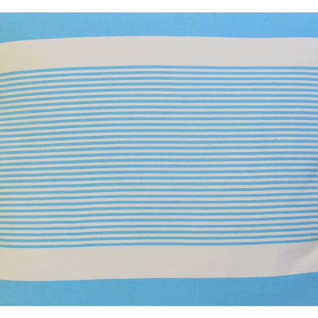 """Early 21st Century French Blue & White Nautical Striped Feather/Down Pillows 22"""" Square - Pair For Sale - Image 5 of 13"""