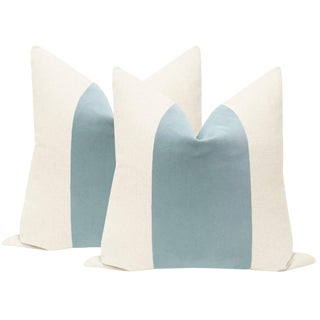"22"" Spa Blue Velvet Panel & Linen Pillows - a Pair For Sale"