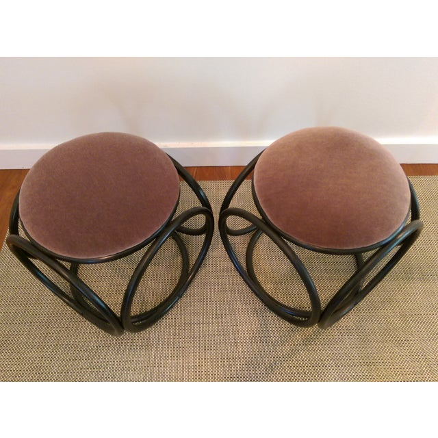 Mohair Thonet-Style Bentwood Ottomans - A Pair - Image 4 of 7