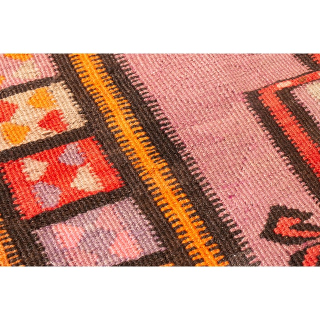 Antique Kurdish Pink and Brown Wool Kilim With Mihrab Pattern - 5′1″ × 14′9″ For Sale In New York - Image 6 of 8