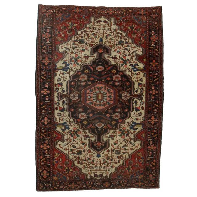 "RugsinDallas Antique Persian Serape Wool Rug - 4'8"" X 6'8"" For Sale"