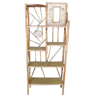 Restored Bamboo Six-Tier Hallway Shelf With Vanity Mirror For Sale