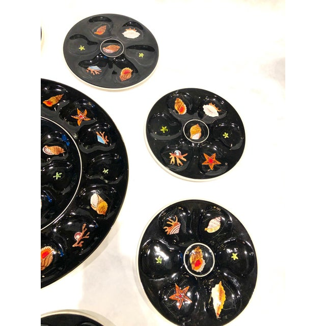 French 1960s Oyster Plates Set by Trevoux, Henriot Quimper, French Majolica - Set of 9 For Sale - Image 3 of 7